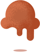 illustration of a chocolate ice cream scoop dripping down